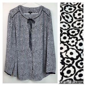Talbots Woman, mod pop art floral work blouse EUC
